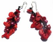 RED PEARL FAIRYTALE - Korallen Perlen 925 Silber lange Ohrringe