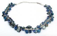 BLUE SUMMERFEELING-Lapis Lazuli Perlen Perlmutt Silberfäden Coll