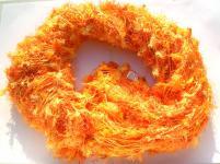 SEIDENFLOCKEN-Schal 100% Rohseide orange/gelb 30x152cm