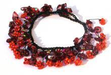 ORANGE RED FAIRYTALE- Granat Blumen Armband verstellbar