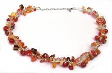 ORANGE SUMMERFEELING-Karneol Perlen Perlmutt Silberfäden Collier