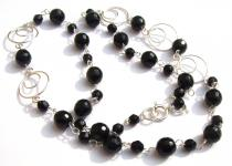 GRACY RINGS & BLACK - facettierter Onyx 925 Silber Collier Kette