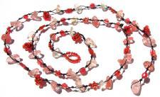 CLEAR PINK CHANGINGFAIRY - Blumen Rubelith Colllier Arm-Fußkette