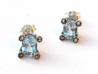 GREAT BRILLANT BLUE SOLITAIRE Topas Markasit Silber Ohrstecker