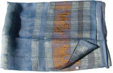 GOLDEN ELEFANTS-Schal 100% Rohseide hellblau mit silberkupfer