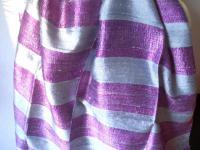STREIFEN SCHAL -100% Rohseide silbergrau violettlila 41x160 cm