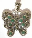 EMERALD BUTTERFLY - 20 Marrkasit 8 Smaragd 925 Silber Anhänger