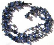DEEP BLUE FAIRYTALE-Lapis Lazuli Perlen Perlmutt 5Reiher Collier