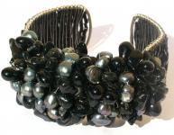 BLACK-SILVER SEA & EARTH- Perlen Onyx Obsidian breite Armspange