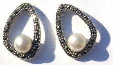THE PEARL INSIDE- Südsee Perlen Markasit 925 Silber große Ohrste