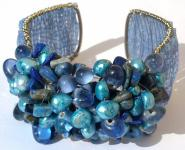 BLUE SEA & EARTH- Perlen Lapis Lazuli Sodalith breite Armspange