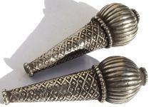 KETTEN KUGELENDSTÜCKE - antik jüdisch jemenitische Silber >1950