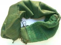 CHIC & KUSCHELIG -100% Rohseide Schal smaragd grün 38x172cm