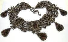 7-reihige große Kette massiv Silber antik jüdisch jemenitisch Unikat
