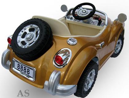 allstars Kinderauto JE128 Elektroauto Oldtimer E-Auto Sportwagen gold-metallic - Vorschau 3