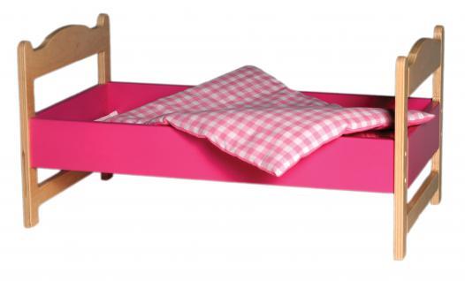 allstars Puppenmöbel Puppenbett maxi Holzpuppenbett + Bettzeug Holzbett L= 63, 2 cm