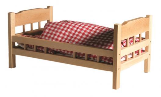 allstars Puppenmöbel Puppenbett maxi mit Bettbezug Holzbett aus Buche massiv 63, 2
