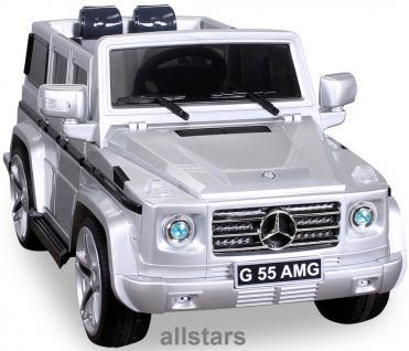 Elektro Kinderauto Mercedes AMG G55008 lizenziert Kinderjeep 70 W Fernbedienung silber-metallic - Vorschau 1