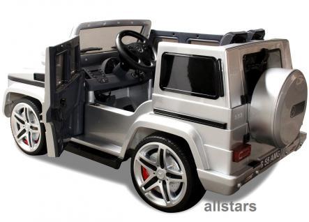 Elektro Kinderauto Mercedes AMG G55008 lizenziert Kinderjeep 70 W Fernbedienung silber-metallic - Vorschau 2