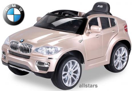 Elektro Kinderauto BMW X6 lizenziert E-Auto 90 W Fernbedienung champagne