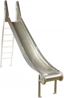 Beckmann Edelstahlrutsche L= 3, 75m Bockrutsche mit Leiter V2A Ohren + Stange H=2, 0