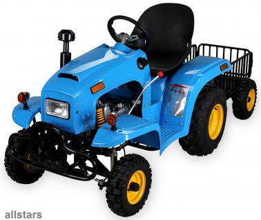 allstars Kindertraktor blau Quad Kindertrecker mit Anhänger Traktor 4-Takter