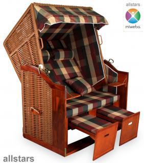 Allstars Strandkorb Duo XXL Rattan braun Gartenliege 2 Sitze extra breit Stoff rot-grün-beige