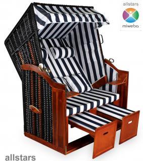 Allstars Strandkorb Duo XXL Rattan schwarz extra breit 2 Sitze Stoff blau-weiß