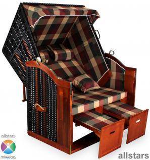 Allstars Strandkorb Duo XXL Rattan schwarz Gartenliege 2 Sitze extra breit Stoff rot-grün-beige