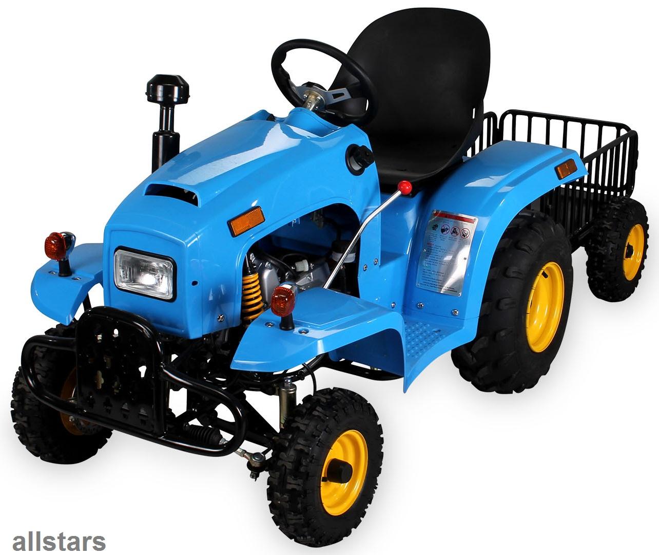 allstars kindertraktor blau quad kindertrecker mit anh nger traktor 4 takter kaufen bei euro. Black Bedroom Furniture Sets. Home Design Ideas