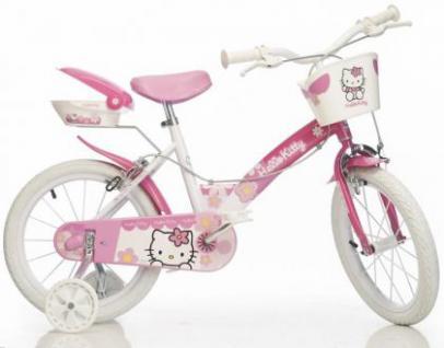 Fahrrad Kinderfahrrad DinoBikes Hello Kitty 14 Zoll Dino Bikes Kleinkindfahrrad mit Luftbereifung weiss/pink 2 Bremsen