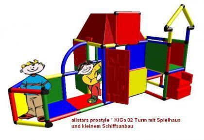 MoveAndStic Großbaukasten KiGa02 Spielhaus Spielturm Bausteine Spielschiff Baukasten Systembaukasten Klettergerüst Kletterturm