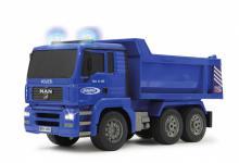 Jamara RC Auto Muldenkipper Polizei 1:20 blau 2, 4 GHz Kipper Funk Motorsound