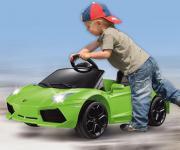 Jamara Ride on Car Lamborghini Aventador gruen grün Kinderauto Kinderfahrzeug mit E-Motor zum Selbstfahren Elektroauto mit RC-Fernbedienung