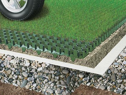 (ab 18, 96 EUR/qm) Rasenwabe 56 x 38 cm grün aus Kunststoff für Bodenbefestigung ohne Versiegelung von Hofeinfahrten, PKW-Stellplätzen und Carports - Vorschau 2