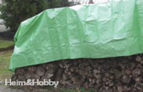 Holzabdeckplane Gewebeplane 160 g/m² für Holzabdeckung 1, 5 x 10 m UV-stabilisiert, doppelter Rand und Ösen (1, 10 EUR/qm)
