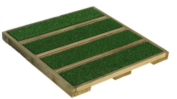 (ab 21, 25 EUR/qm) Terrassenfliesen Holz mit Kunstrasen 40 x 40 cm kesseldruckimprägnierte Holzfliesen / Balkonfliesen