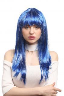 Perücke Karneval Fasching Damen lang glatt Pony blau Glitter Strähnen XR-003