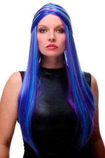 Damenperücke Perücke Cosplay lang glatt geflochten Blau Türkis gesträhnt GFW2027