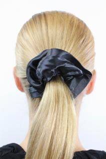 Elastisches Haarband Stoff Scrunchy Scrunchie Haargummi Schwarz glänzend Z017