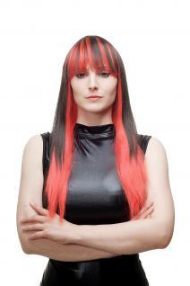 Teuflisch Sexy Damenperücke Perücke Cosplay Rot Schwarz glatt Pony HLA040