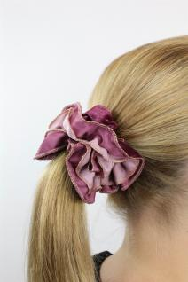 Schickes Haarband Haarbinder Stoff Scrunchy Haarrosette zweifarbig Rosa Bordüre