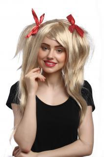 Perücke Cosplay Wild Glatt Zöpfe Volumen Hell-Blond rote Schleifen Gothic Lolita