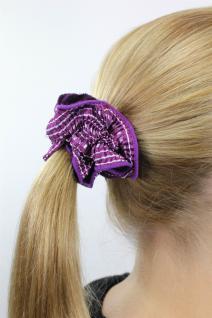 Schickes Ziehharmonika-Haarband Stoff Scrunchy Lila Himmelblau Haargummi Z014