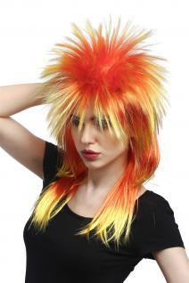 Perücke Karneval Punk 80ies Wave toupiert lang bunt rot gelb DH1069-PC2BTPC13