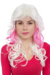 Perücke, Wig, weißblond, blond, pink, Locken, gestuft, Länge: 60 cm, GFW1113-G5