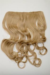 Clip-In Extension Haarverlängerung breit hitzefest 5 Clip lockig Dunkelgoldblond