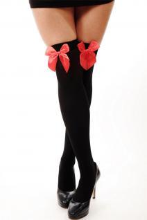 Halloween Karneval Strümpfe Damenstrümpfe Overknees schwarz rote Schleife Zofe