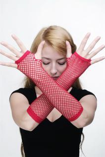 Karneval Handschuhe Netzhandschuhe Fishnet Rot Punk Wave Gothic 80er Z067