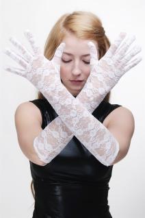 Burlesque Handschuhe Netzhandschuhe Spitze Spitzenhandschuhe Lang Weiß Z074